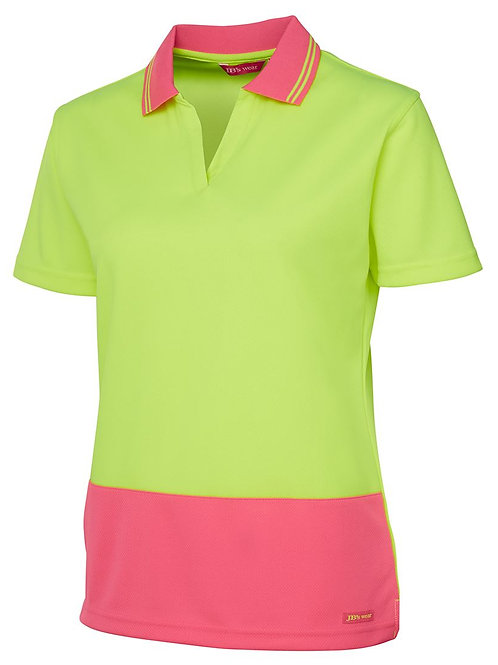 Hi Vis Ladies S/S Non Button Polo