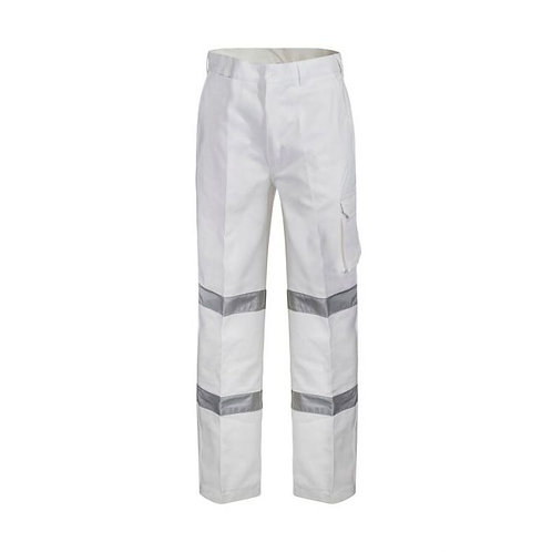 White Reflective Cotton Drill Pants Night