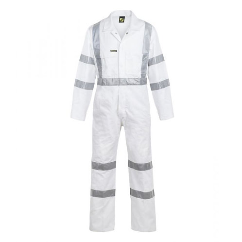 White Reflective Cotton Drill Coverall Night