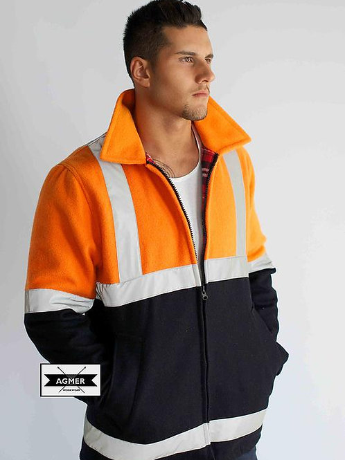 Agmer 21oz Hi-Vis 3/4 Style Bluey Jacket With Tape