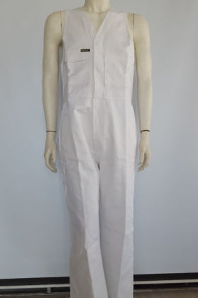 White Cotton Drill Action Back Overalls