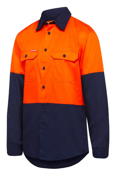 Hi-Vis Cotton Drill Shirt Long Sleeve