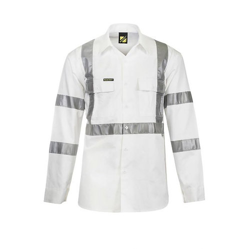 White Reflective Cotton Drill Shirt Night
