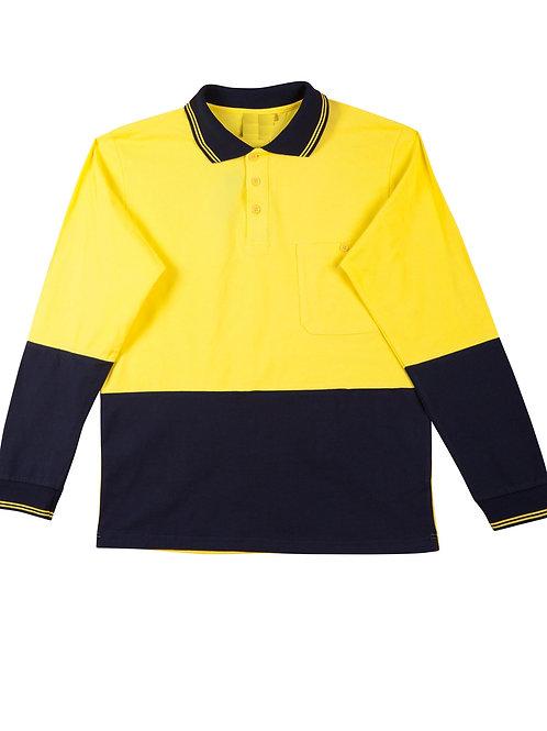 Hi-Vis Cotton Polo Shirt Long Sleeve