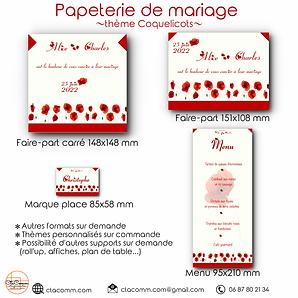 papeterie de mariage, thème coquelicots