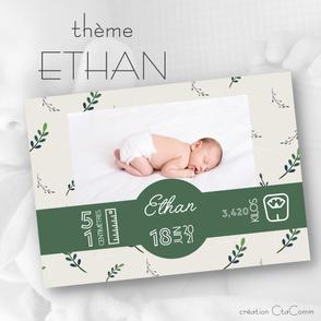 faire-part naissance, thème ETHAN
