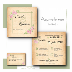 AQUARELLE ROSE -fond kraft-