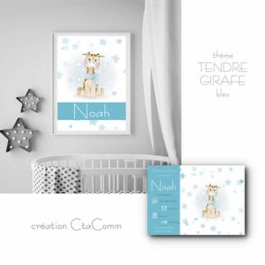 thème TENDRE GIRAFE-bleu
