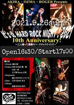9.26 sun   AKIRA・OZMA・ROGER Presents It's a HARD ROCK NIGHT!! 2021 ☆10th Anniversary☆