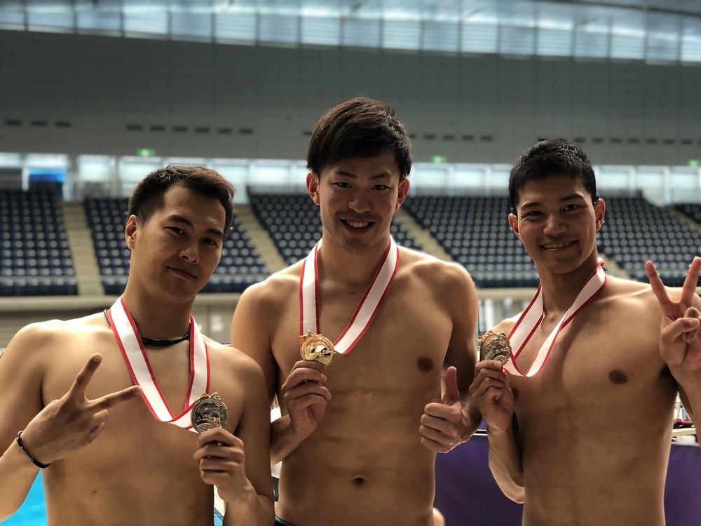 2018フィンスイミング日本選手権400mサーフィス表彰 AQUA FinD 関野義秀 三枝寛治