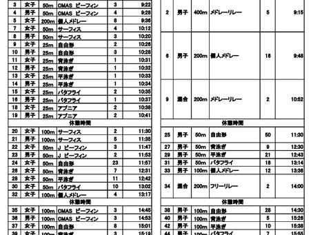 (10/28)横浜国際プール記録会タイムテーブル