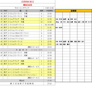 フィンスイミング日本選手権3日目スケジュールおよび出場者