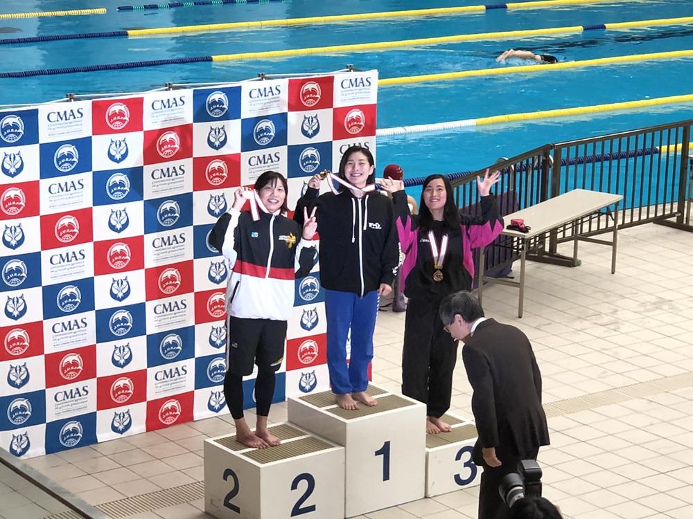 2018フィンスイミング日本選手権400mサーフィス表彰 日本新 AQUA FinD 髙津奈々