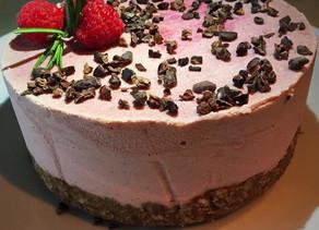 Raspberry Raw Cashew Cheesecake with Cacao Nibs