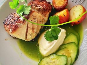Seared Red Snapper, Pickled Cucumbers in Verde Sauce, & Yogurt Emulsion