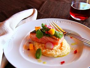 Pan Seared Salmon with Parsnip, Rutabaga Puree, and Blood Orange Arugula Salad