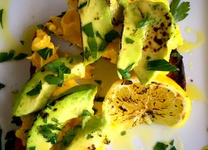 Smoked Avocado Toast with Soft Scrambled Eggs Grilled Lemon Sel de Fleur