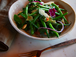 Hericot Verts, Shaved Red Onion, Parmigiano- Reggiano and Fried Almonds