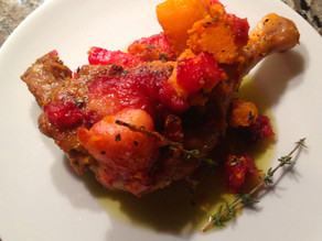 Roast Duck Legs Squash, Blackberry and Apple Compote