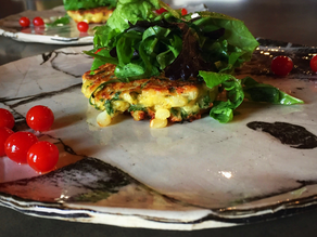 Corn Cheddar Fritters with Arugula & Herbs