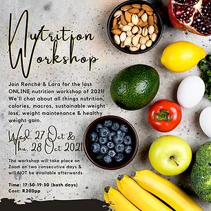 Nutrition Workshop: 27 & 28 Oct 2021