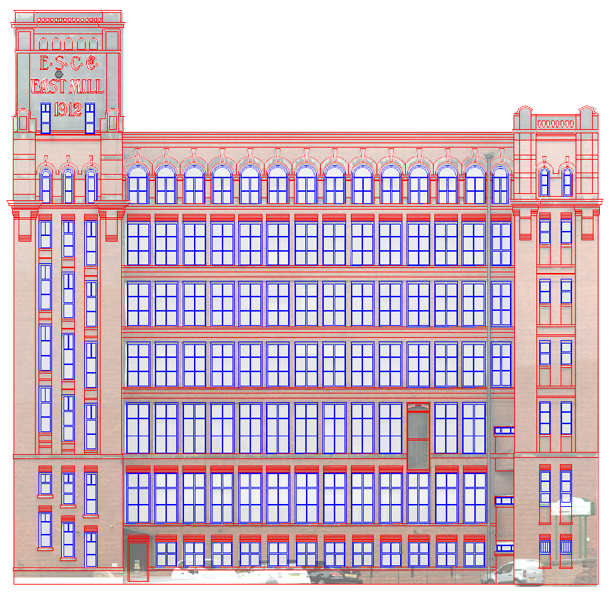 CAD Building elevation of the East Mill in Belper Derbyshire
