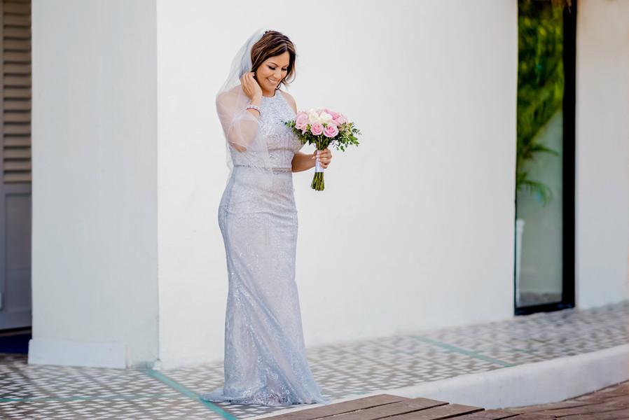 The bride getting ready at Ocean Riviera Paradise by Santamaria Team