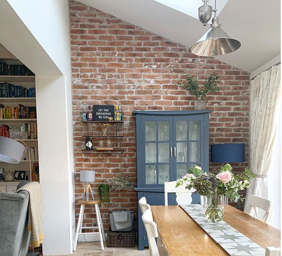 Rustic Red Brick Slips, Feature Wall, Extension, Exposed Brick, Brick Wall, Dining Room, Brick Effect, Kitchen, Kitchen Tiles, Brick Tiles