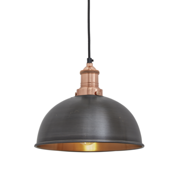 """8"""" Dark Metal and Copper Ceiling Light"""