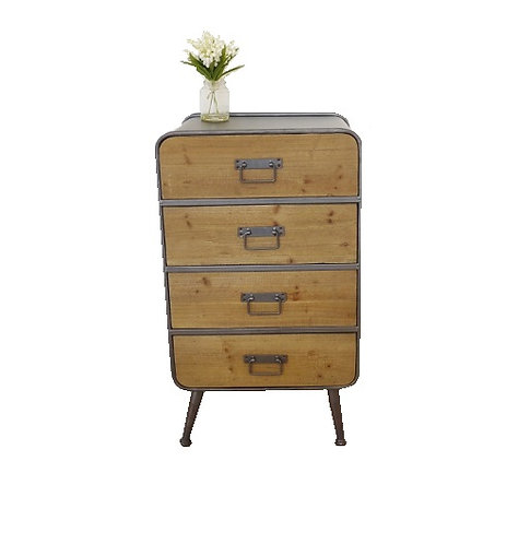 Industrial Four Drawer Cabinet