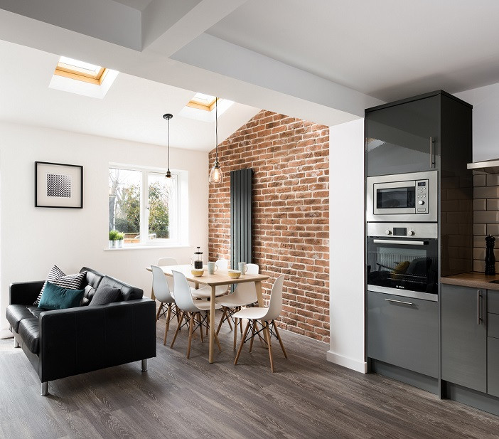 Kitchen Feature Wall using Rustic Red Brick Slips