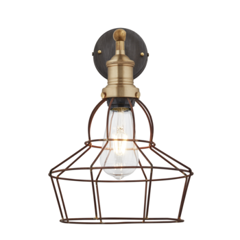 Rusty Cage Wall Light - 8 Inch