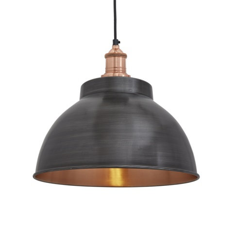 "13"" Dark Metal and Copper Ceiling Light"