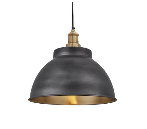 "13"" Dark Metal and Brass Ceiling Light"