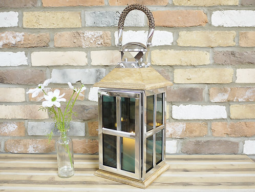 Wooden and Glass Square Industrial Lantern