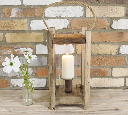 Vintage Glass Pillar Lantern