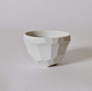 """Faceted cup #1 2"""" x  3"""" unglazed porcelain 2013"""