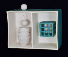 "I grew up in a turquoise house 9""L x 7""H x 4""W ceramic box stoneware, porcelain, wire 2020"