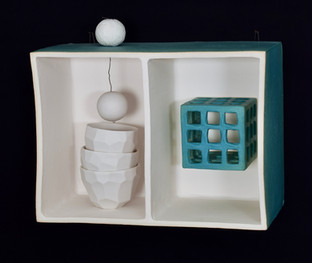 """I grew up in a turquoise house 9""""L x 7""""H x 4""""W ceramic box stoneware, porcelain, wire 2020"""