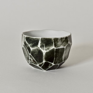 """Faceted cup 2.5"""" x  2"""" porcelain, black mason stain 2012"""