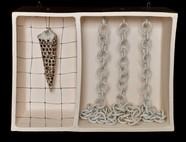 "Chain Link 10""L x 7""H x 5""W ceramic box stoneware, porecelain, wire 2020"