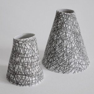 """Cone duo n/a 3"""" x 4"""" /  2"""" x 3"""" porcelain Collection Alex and Heidi Fisher 2015"""