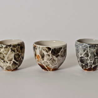 Faceted cups porcelain, oxides 2012