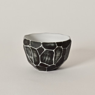 """Faceted cup 2"""" x  3"""" porcelain, black mason stain 2012"""