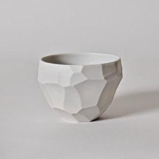 """Faceted cup #3 2"""" x  3"""" unglazed porcelain 2013"""
