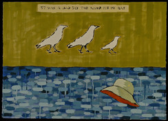 "It was a sad day the river ate my hat 42"" x  30"" India ink, gouache 2007"