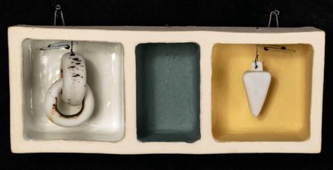 "Moment between 5.25""L x 2""H x 1.5""W ceramic box stoneware, porcelain, wire 2018"