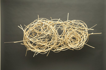 """Sitting on the banks of the river no one owns   n/a 42"""" x  92"""" x  12"""" peeled willow Collection Dunn Family 2009"""