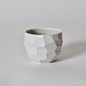 """Faceted cup #4 2.5"""" x  2"""" porcelain, celadon interior glaze 2013"""