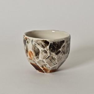 """Faceted cup #7 2.5"""" x  2"""" porcelain, oxides 2012"""